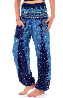 Plume Peacock Harem Pants - Blue