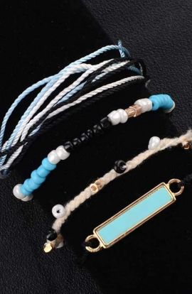Turquoise Blue Beaded Bracelet Set