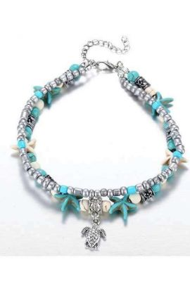 Star Beaded Turtle Charm Turquoise Anklet