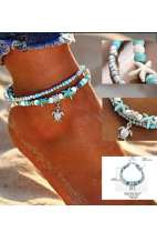 Shell Beads Turtle Turquoise Anklet