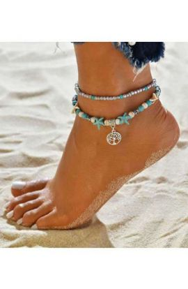 Tree Pendant Turquoise Bohemian Anklet
