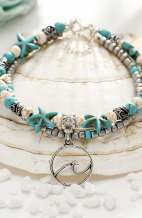 Wave Pendant Turquoise Bohemian Anklet