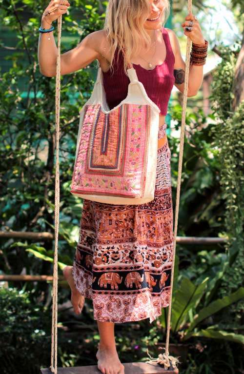 Oversized Boho Vintage & Hemp Tote Bag