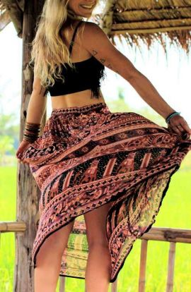 Long Hippie Skirt - Feathered Flower