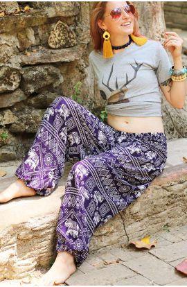 Pantalones Harén - Estampado de Elefante