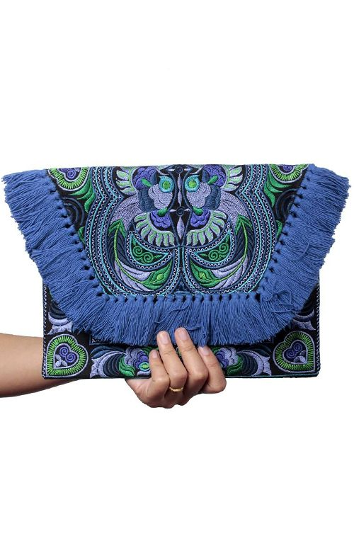 Kimmi Clutch - Blue Bird Tasseled