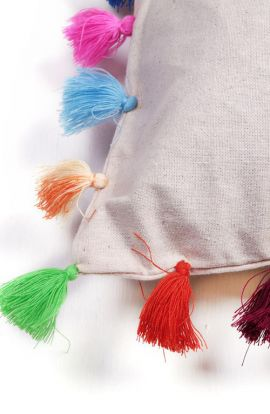 Cotton Cushion With Colorful Tassels