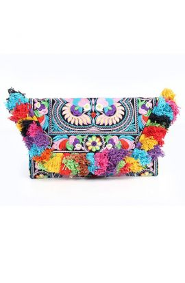 Yara Multi-Colored Clutch Bag - Tassels