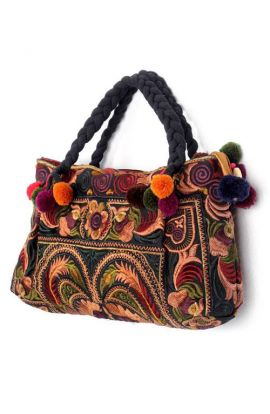 Small Top Handle Embroidered Hmong Bag