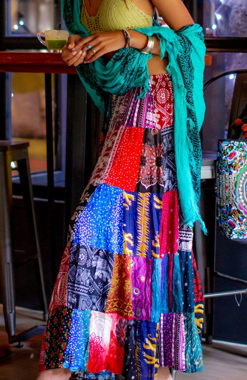 Patchwork Maxi Skirt - Mixed