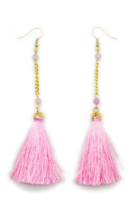 Beige Drop Tassel Earrings