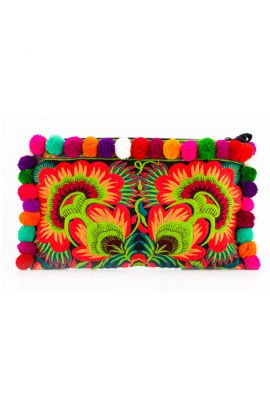 Orange Pom Pom Boho Clutch Bag