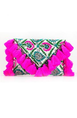 Handmade Pink Tassel Clutch Purse