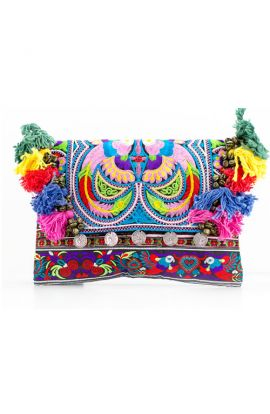 Kimmi Clutch - Multi Bird Tassel
