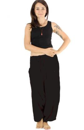 Classic Drop Crotch Harem Pants - Black