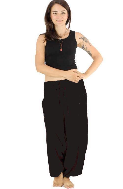 Classic Drop Crotch Harem Pants - Black