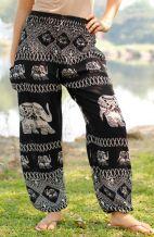 Black Tribal Elephant Harem Pants