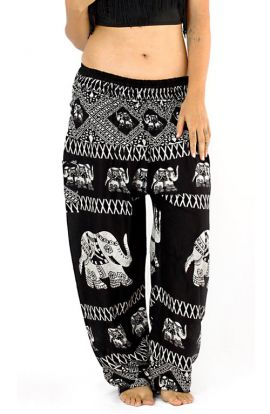 Black Tribal Elephant Harem Pants