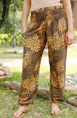 Floral Harem Pants - Tawny