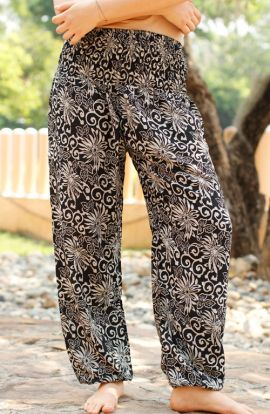 Floral Harem Pants - Black