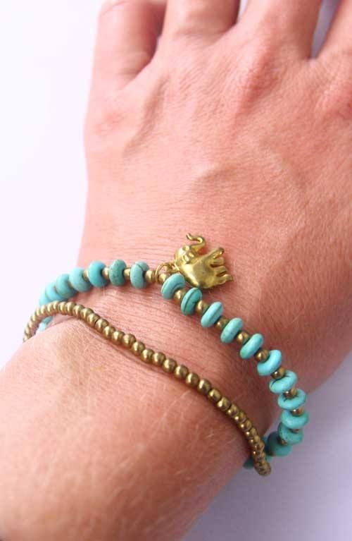 Turquoise and coloured string bracelet