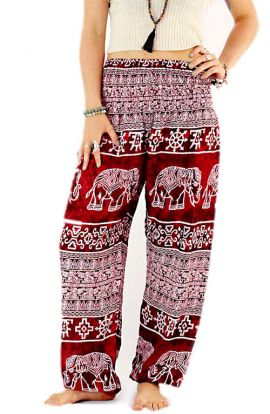 Thai Elephant Harem Pants - Ancient Red