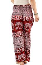 Thai Elephant Harem Pants - Ancient Red