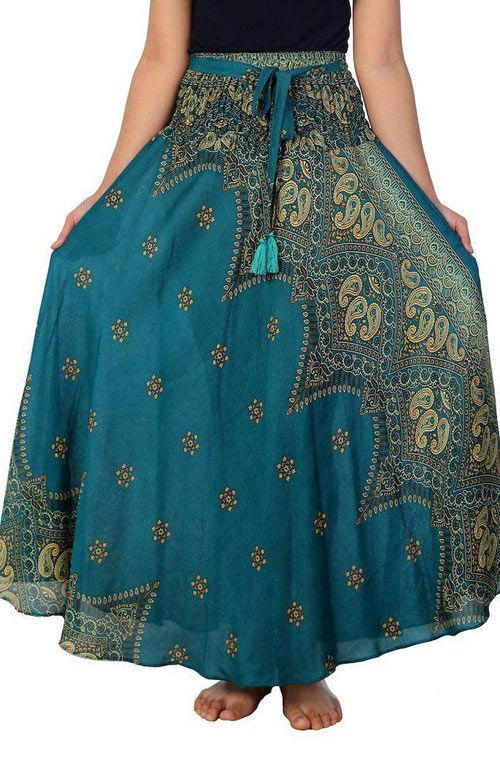 Peacock Boho Skirt - Teal