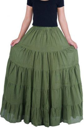 Long Maxi Cotton Skirt - Khaki