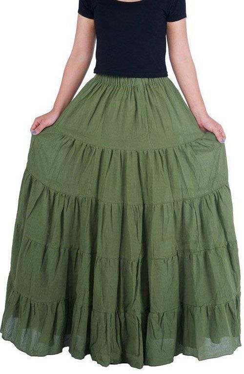 Long Maxi Cotton Skirt - Khaki