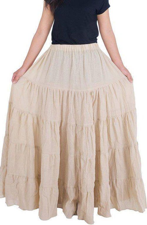 Long Cotton Maxi Skirt - Beige