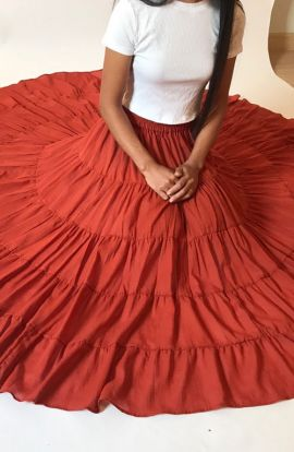Ruffled Long Cotton Skirt - Fire Orange