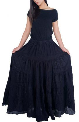 Ruffled Long Black Skirt - Jet