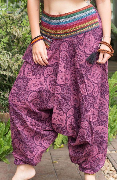 Paisley Harem Pants - Purple