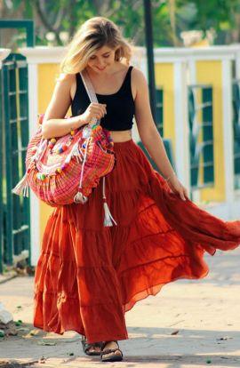 Ruffled Long Cotton Skirt - Fire Orange