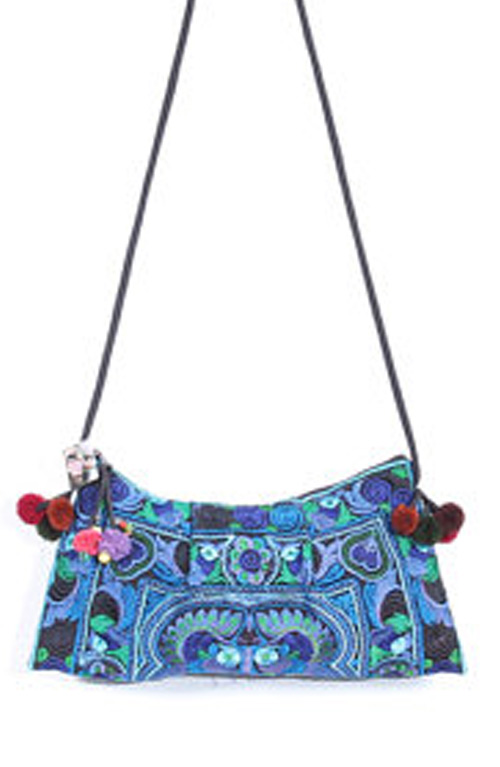 Embroidered Blue Clutch with Strap