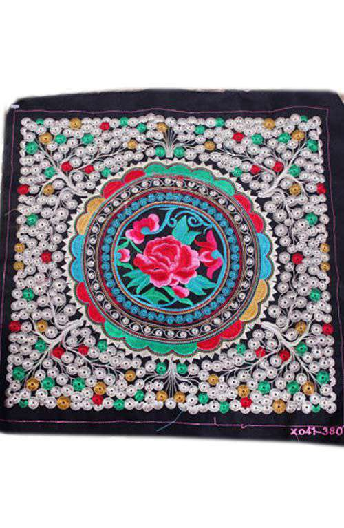 Embroidered Fabric - DIY Red Rose