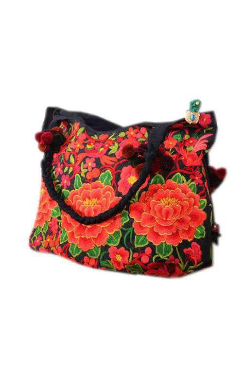 Red tote bag - Red shoulder bag - Red Boho bag 555b0e26737a0