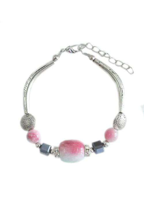 Chic Colorful Silver Beaded Bracelet