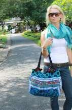 Hmong Blue Bird Shoulder Bag