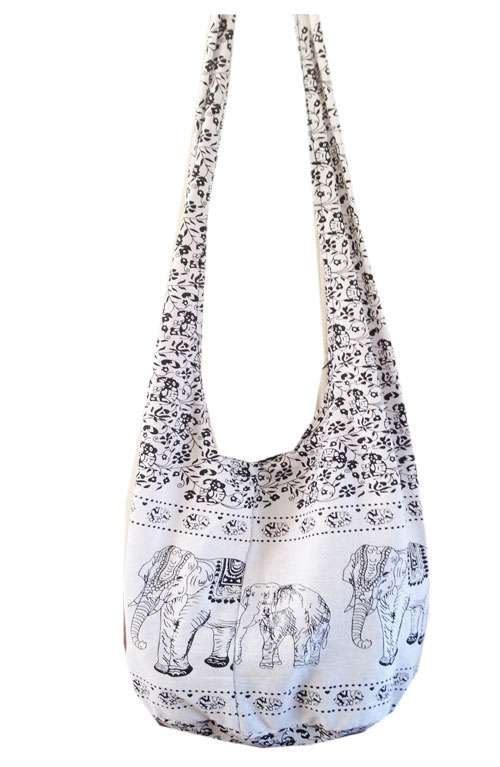White and Black Elephant Print Bag