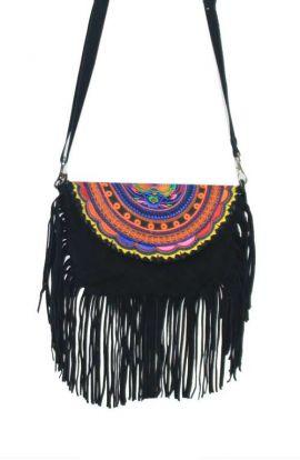 Black Suede Hmong Fringe Bag