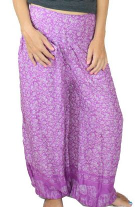 Yoga Pants - Magenta Thai Flower