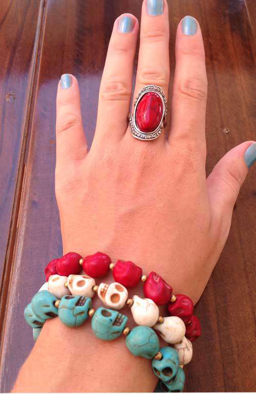 Beaded silver and red bracelet