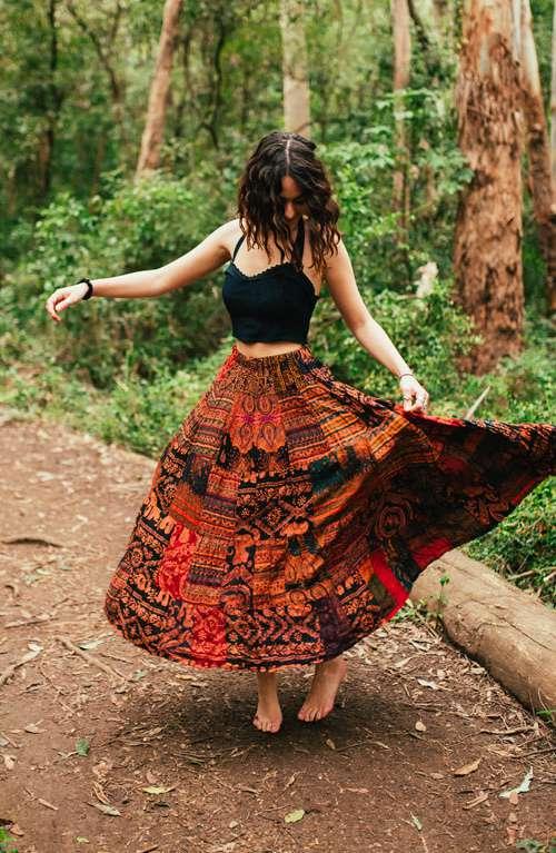 Falda larga bohemia - Patchwork hecho a mano