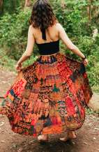 Bohemian Patchwork Long Skirt
