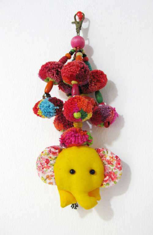 Key Chain - Elephant Pom Pom