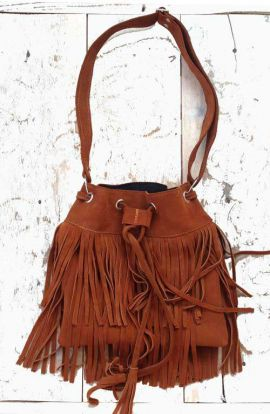Suede Fringe Bucket Bag