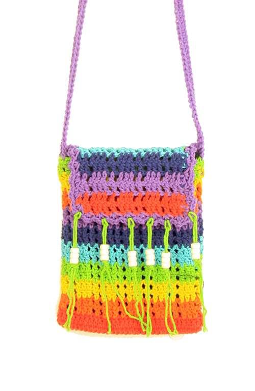Multi Colored Crocheted Crossbody Bag Multi Colored Crocheted