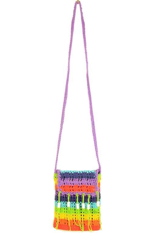 Festival crochet bag with tassels Festival tassel bag Festival Rainbow coloured crochet bag Colourful Crochet Shoulder and flap bag
